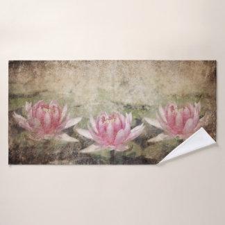 Pink Lotus Grunge Bath Towel
