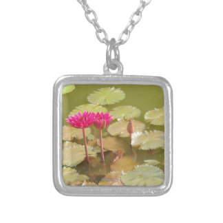 Pink lotus lilies silver plated necklace