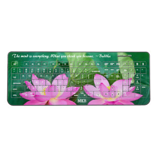 Pink Lotus Meditation Buddha Zen Mindfulness Yoga Wireless Keyboard