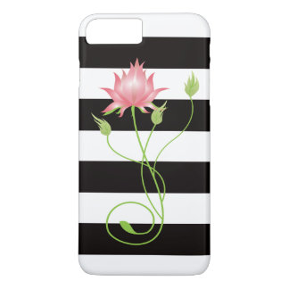 Pink Lotus Modern Stripe Floral iPhone 8 Plus/7 Plus Case