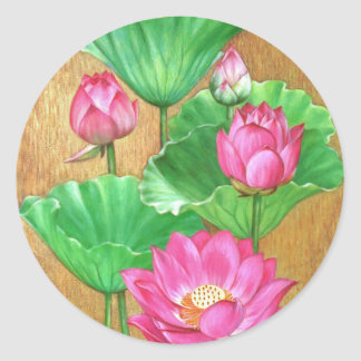 Pink lotus on gold paint background round sticker