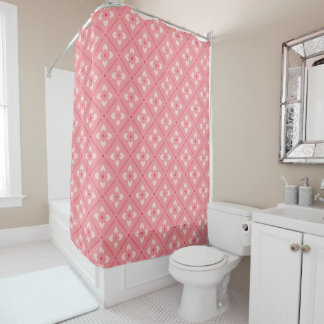 Pink Lotus Pattern Shower Curtain