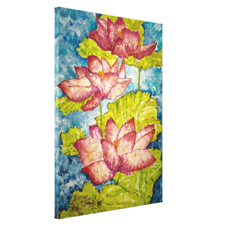 Pink Lotus Pond Frog Watercolor 18x24 Canvas Print