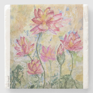Pink Lotus Stone Coaster