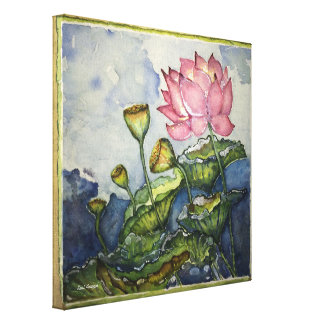 Pink Lotus Watercolor Print Wrapped Canvas