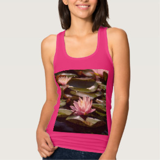 Pink Lotus Waterlilies Tank Top