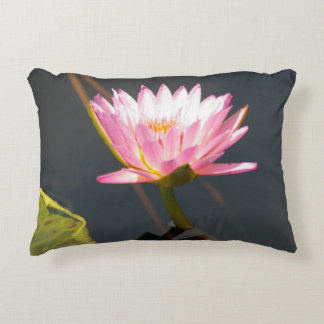 Pink Lotus Waterlily Accent Pillow