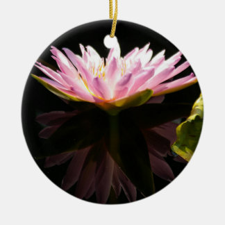 Pink Lotus Waterlily Ceramic Ornament