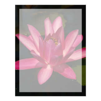 Pink Lotus Waterlily Flower Letterhead