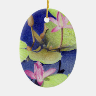 Pink Lotus Waterlily Flowers Ceramic Ornament