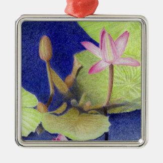 Pink Lotus Waterlily Flowers Metal Ornament