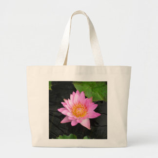 Pink Lotus Waterlily Large Tote Bag