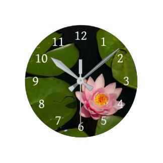 Pink Lotus Waterlily Round Clock