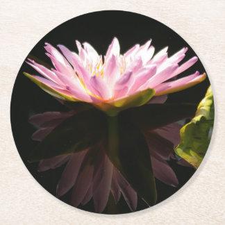 Pink Lotus Waterlily Round Paper Coaster