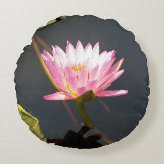 Pink Lotus Waterlily Round Pillow