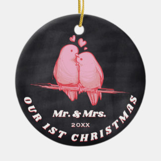 Pink Love Birds Mr. & Mrs. Our First Christmas Ceramic Ornament