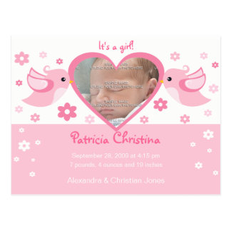 Pink Love Birds Photo Baby Birth Announcement Postcard