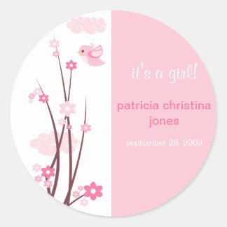Pink Love Birds Spring Flowers Baby Announcement Classic Round Sticker