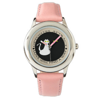 Pink Love Cats Black White Cute Funny Chic Watch