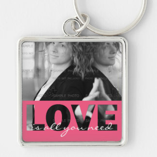 Pink Love Cutouts Love Is All You Need Photo Keychain