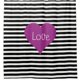 Pink Love Heart On Black & White Striped Pattern