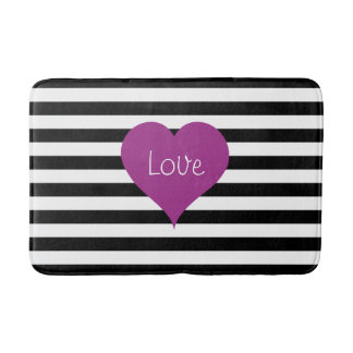 Pink Love Heart On Black & White Striped Pattern Bath Mat