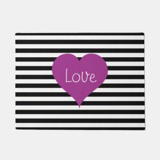 Pink Love Heart On Black & White Striped Pattern Doormat