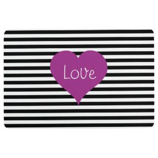 Pink Love Heart On Black & White Striped Pattern Floor Mat