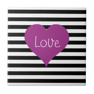 Pink Love Heart On Black & White Striped Pattern Tile