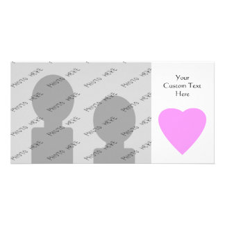 Pink love heart on white personalized photo card