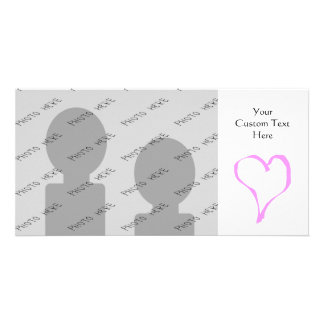 Pink love heart on white. picture card