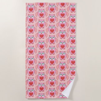 Pink Love Heart Owl Beach Towel