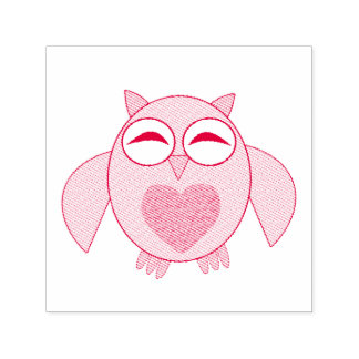 Pink Love Heart Owl Self Inking Stamp