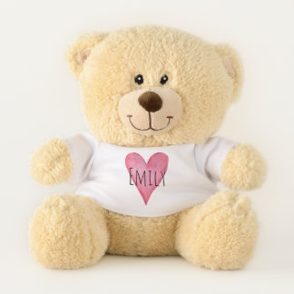 Pink Love Heart Typography with Baby Name Teddy Bear