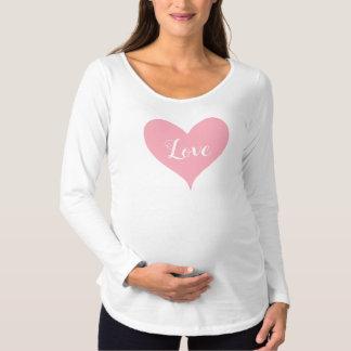 Pink love heart Valentine Maternity T-Shirt
