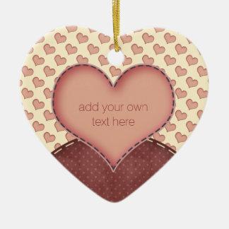 Pink Love Hearts Folk Art Personalized Ceramic Heart Ornament