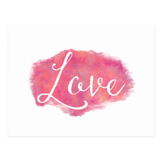 Pink Love Inspirational Watercolor Quote Postcard