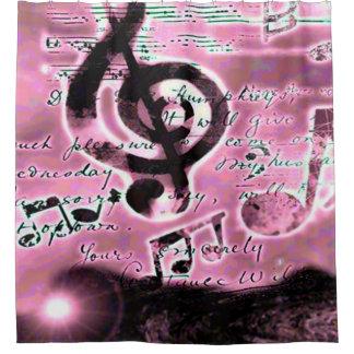 Pink Love Music Airbrush Art Shower Curtain