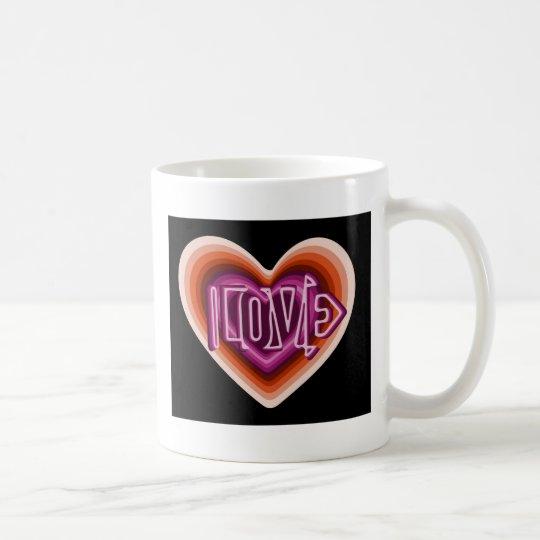 Pink love on red heart coffee mug