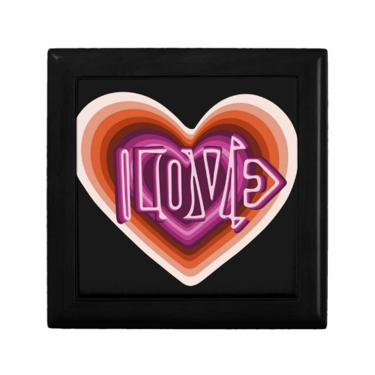 Pink love on red heart gift box