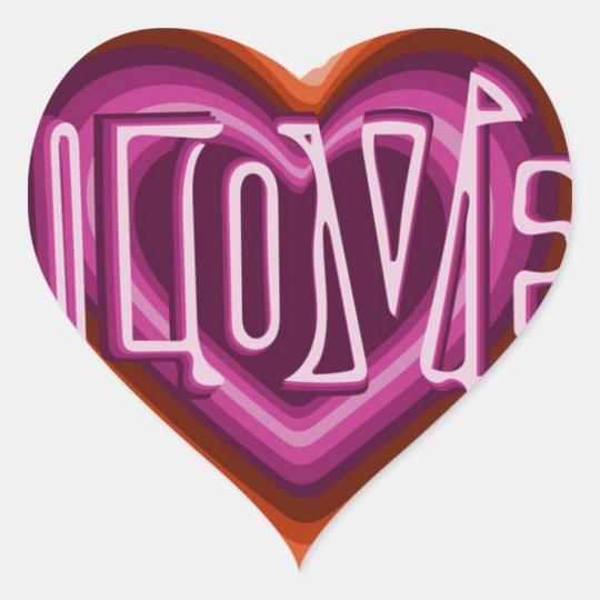 Pink love on red heart heart sticker