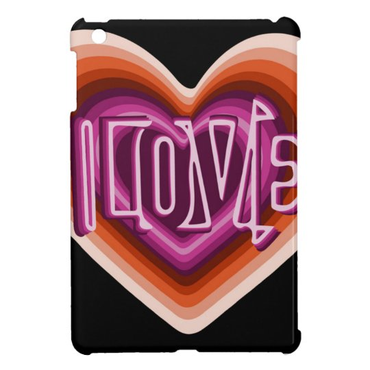 Pink love on red heart iPad mini cases