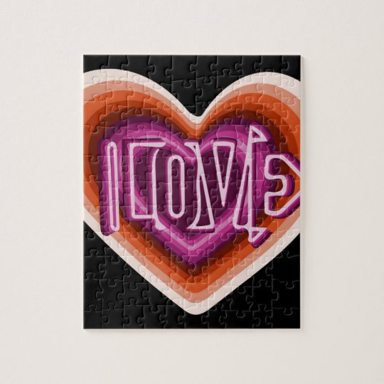 Pink love on red heart jigsaw puzzle