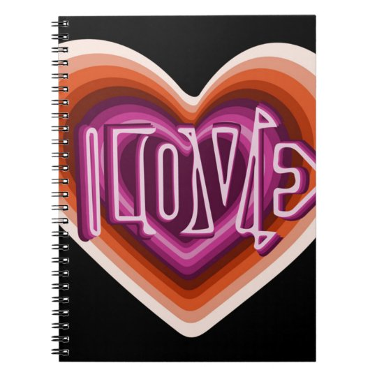 Pink love on red heart notebook