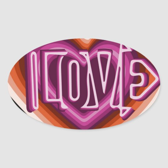 Pink love on red heart oval sticker