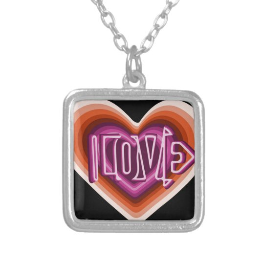 Pink love on red heart silver plated necklace