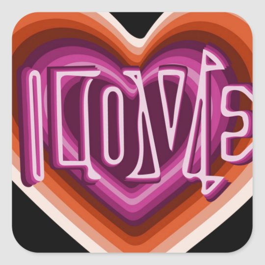 Pink love on red heart square sticker