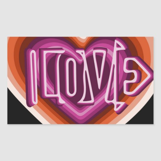 Pink love on red heart sticker