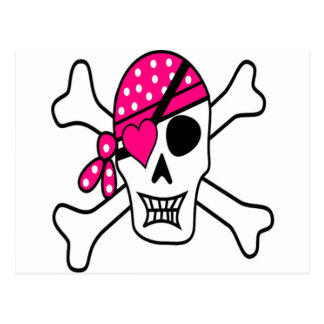 Pink Love Pirate Postcard