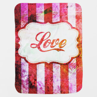 Pink Love with Stripes Baby Blanket